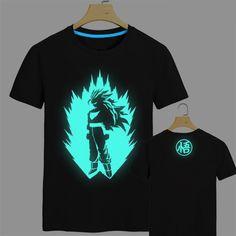 2015 Japan anime Dragon Ball Z T Shirt Super Saiyan fluorescent t shirt men Son Goku Tees Tops Men Clothes Plus size