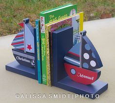 Custom Designed Wooden Sailboat Bookends by WanderlustbyAlissa