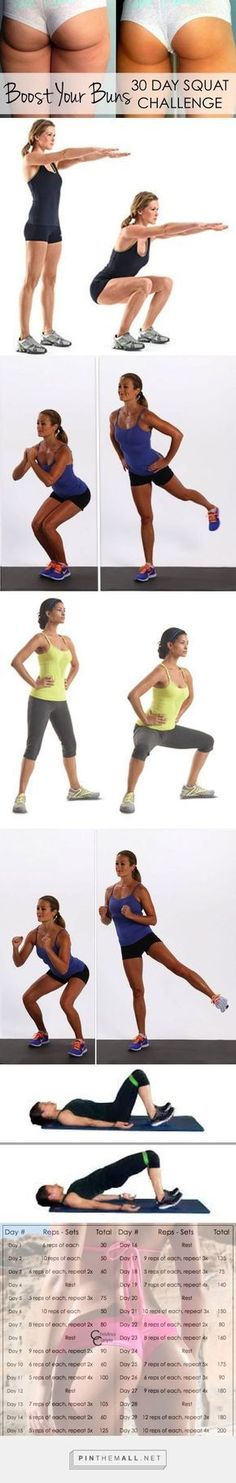 Boost your Buns Fast! 30 Day Squat Challenge a grouped images picture-Boost your Buns Fast! 30 Day Squat Challenge - Christina Carlyle - created on Fitness Workouts, Fitness Del Yoga, Sport Fitness, Butt Workout, Fitness Diet, At Home Workouts, Fitness Motivation, Health Fitness, Fitness Plan