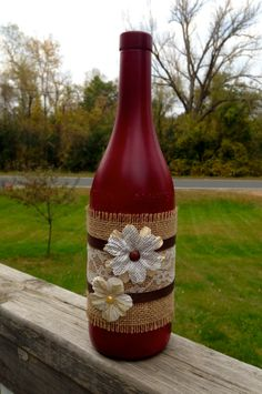Shabby Chic Vintage Red Wine Bottle / Rustic Wine by Hinzpirations Wine Bottle Glasses, Empty Wine Bottles, Wine Bottle Corks, Glass Bottle Crafts, Painted Wine Bottles, Diy Bottle, Recycled Bottles, Decorated Wine Bottles, Glass Bottles