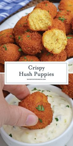 Hush Puppies Delicious Golden Fried Cornbread Recipe - Hush Puppies are gently fried cornbread with a crunchy outside and soft, doughy inside. Serve with fish fry, fried shrimp or any BBQ! Fried Fish Recipes, Seafood Recipes, Appetizer Recipes, Cooking Recipes, Appetizers, Seafood Boil, Corn Recipes, Dishes Recipes, Bread Recipes