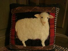 Primitive Sheep On Old Quilt Pillow