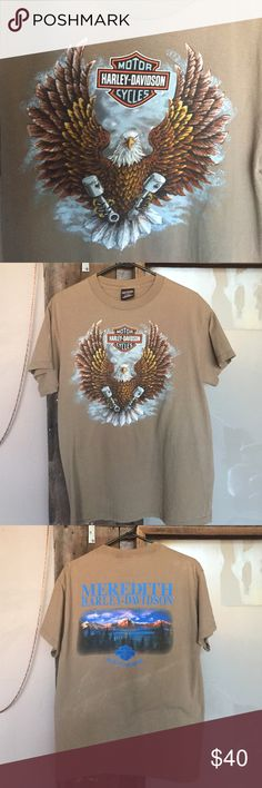 Vintage Harley Davidson T-shirt Original Harley Davidson vintage tshirt from New Hampshire! Perfect to cut up to your liking! Or leave it as is. It does have sort of a mans feel but can easily be revamped into awesome rock tee! Harley-Davidson Tops Tees - Short Sleeve