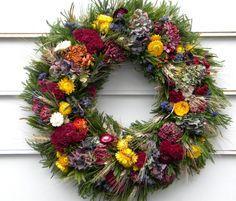 wreath Fall dried flower wreath.