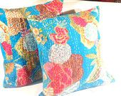 Set of 2 Cushion cover Blue colour floral print Handmade Kantha cushion cover  Decorative Pillow
