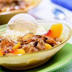 Peach-Almond Crisp This ginger-spiced fruit dessert is a breeze to make. Select peaches that have healthy golden-yellow skin with no tinges of green. The ripe fruit should yield slightly to gentle pressure.