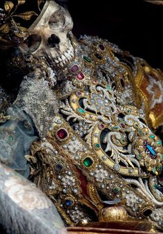 A 400-year-old jewel-encrusted skeleton of St Valentinus in Waldsassen, Bavaria. The decorated skeletons were sent to Catholic churches in Europe to replace the relics destroyed during the Prostestant Reformation. It was also a sign of the power and strength of Catholicism in largely Prostestant areas (REX/Paul Koudounaris/BNPS