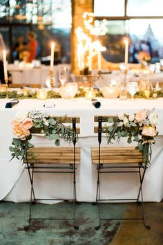 Southern Savvy Events | Lesley & Kyle | Crest Center & Pavilion Wedding | Asheville Wedding | Candlelight | Romanticl | Organic Wedding | Organic Detail | Chair Decor | Bistro Chairs | Floral Chair Tie | Feasting Table | Greenery | Ribbon | Leaf Season | Mountain Wedding | Wedding Inspiration | Wedding Details