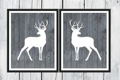 Man cave - Deer Prints Hunting Lodge Decor Two Piece Set by TheEducatedOwl