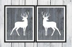 Deer Prints  Hunting Lodge Decor  Two Piece Set by TheEducatedOwl