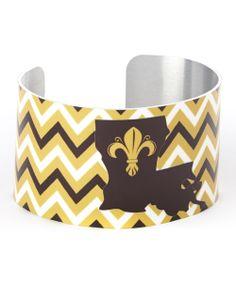 Black & Yellow Fleur-de-Lis Louisiana Cuff