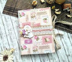 Pink Vintage fabric journal. Vintage Journals, Fabric Journals, Vintage Pink, Decorative Boxes, Postcards, Vintage Magazines, Decorative Storage Boxes