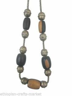 Vintage Ethiopian Tribal Pendant and Necklace(Metal and Wooden Beads)
