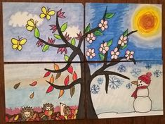 "# 27 - Four seasons - Four seasons – The ninth card for the Days KaKAO Drawing Challenge"" is ready and thus my firs - Four Seasons Painting, Four Seasons Art, Art For Kids, Crafts For Kids, Butterfly Drawing, School Calendar, Drawing Challenge, Drawing Poses, Art Plastique"