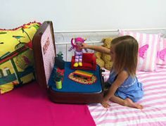 Tara's making the cutest dolls house and it's portable. Our deco wiz is taking a vintage suitcase and renovating it into the ultimate portable dolls house with two interchangeable rooms with a secret storage compartment underneath for the doll's clothes.