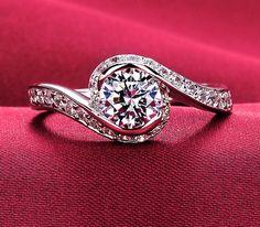 0.6 carat twist band engagement ring, man made diamond ring, Simulated diamond