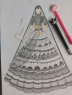 black n white outfit for bridal wear, emblishment done well, sketches illustration Fashion Design Books, Fashion Design Sketchbook, Fashion Design Drawings, Fashion Sketches, Fashion Figure Drawing, Fashion Drawing Dresses, Fashion Illustration Dresses, Fashion Illustrations, Dress Design Drawing