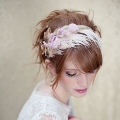 Bridal headband bridal feather headband bridal