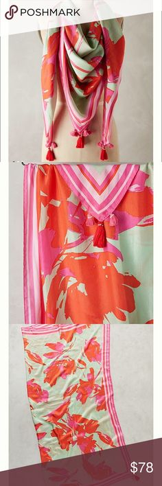 """NWT Anthropologie Bright Floral Square Scarf NWT Anthropologie Bright Floral Square Scarf. 52"""" square with tassel detailing Anthropologie Accessories Scarves & Wraps"""