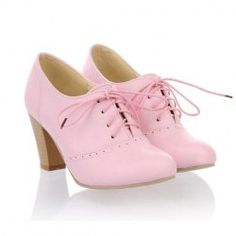 $20.50 Casual Chunky Heel Women's Ankle Boots With Lace-Up and Solid Color Design