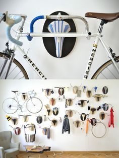 Most Hipsterrific Hunting Trophies Ever Have Handle Bars For Antlers – Hanger rack Bicycle Crafts, Bicycle Art, Bike Hanger, Hanger Rack, Crochet Velo, Bike Storage Apartment, Recycled Bike Parts, Wall Mount Bike Rack, Range Velo
