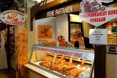 Irene Partanen shop sells local delicacies kalakukko and lihapiirakka at Kuopio Market Hall.