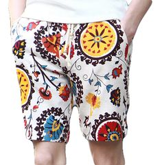 WHITE MULTICOLOR ANIMATED NATURE COMFORTABLE SHORTS   Color: Multicolor  Pattern: Animated Pattern Material: Cotton  Pockets: Yes