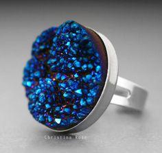 TITANIUM BLUE DRUZY Large Natural Stone Ring
