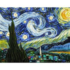 La Pastiche Vincent Van Gogh 'Starry Night' Hand-painted Felt Backed Wall Accent Tile (14X11), Blue