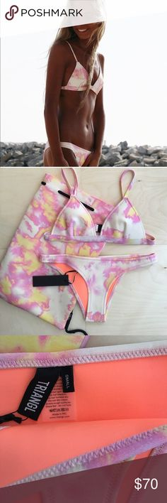 Bibi pink Tye dye. Both top and bottom size small. Bibi pink Tye dye. Both top and bottom size small. No trading. Comes with bag. triangl swimwear Swim Bikinis