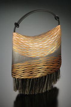 Brush Series Purse With Boar S Bristle And Either Shoulder Or Handheld Rubber Cord Standing Rush By Kathleen Dustin