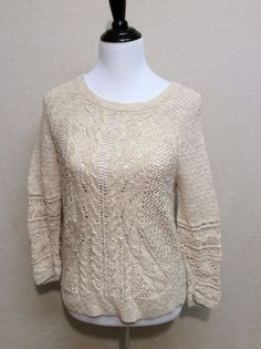 Lucky Brand M Cotton Cable Sweater Oatmeal Beige Tan | eBay