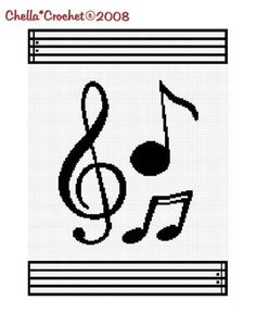 SALE see SHOP for details Chella Crochet Musical Notes Scale Black White Afghan Crochet Pattern Graph Chart .PDF. $3.75, via Etsy.