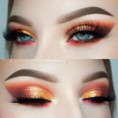 Warm tone / orange red makeup look by . - Warm tone / orange red makeup look by – - Subtle Eye Makeup, Copper Eye Makeup, Light Eye Makeup, Orange Eye Makeup, Hazel Eye Makeup, Asian Eye Makeup, Orange Lips, Colorful Eye Makeup, Makeup For Green Eyes