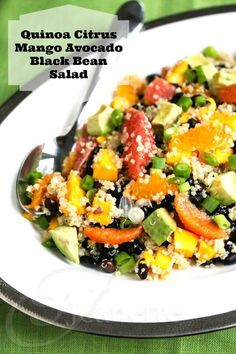 This beautiful salad is perfect for spring -- and a perfect balance of vegan protein, complex carbs, healthy fats, and ripe seasonal fruits (serves 4).