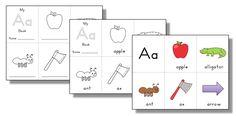 Mini Alphabet Books – Trillium Montessori Teaching Letter Sounds, Teaching Letters, Cursive Alphabet, Alphabet Books, Initial Sounds, Montessori Materials, Initials, Lettering, Learning