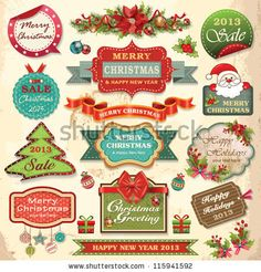 Collection of christmas ornaments and decorative elements, vintage frames, labels, stickers and ribbons by Catherinecml, via ShutterStock