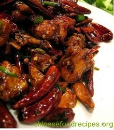 Since Chongqing was formerly a part of Sichuan province, its cuisine is similar and many foods considered Sichuanese are actually from Chongqing. This dish is very similar to Kung Pao Chicken Best Chinese Food Dishes, Chinese Dishes Recipes, Chinese Chicken Recipes, Spicy Chicken Recipes, Asian Recipes, Chicken Recepies, Asian Chicken, Pork Recipes, Szechuan Recipes