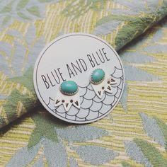 Turquoise bloom studs // blueandblueshop.etsy.com