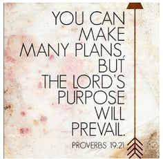 You can make many plans, but the Lord's purpose will prevail.  Proverbs