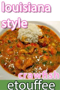 cajun cooking Louisiana Style Crawfish touffe is a rich flavorful stew traditionally served over rice. Flavored with sweet crawfish tails, onion, garlic, celery, red and green bell peppe Crawfish Etoufee Recipe, Crawfish Recipes, Jambalaya Recipe, Cajun Recipes, Seafood Recipes, Cooking Recipes, Haitian Recipes, Donut Recipes, Bon Appetit