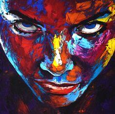 """Eugen Dick • """"Original 890 face portrait"""" • Peinture acrylique sur toile • KAZoART #art #artcontemporain #oeuvre #artist #galeriedart #streetart #noel #noel2017 #femme #portrait #colère"""