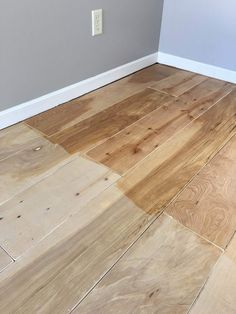 The boards really take on a darker hue when the poly was wet.it dried much lighter and with no sheen. Just the look I was going for! floors Plywood Turned Hardwood Flooring - DIY — The Other Side of Neutral Plywood Plank Flooring, Diy Wood Floors, Pine Floors, Diy Flooring, Diy Hardwood Floor, Cheap Flooring Ideas Diy, Stained Plywood Floors, Cheap Wood Flooring, Sweet Home