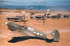 Curtiss P-40N Warhawks during WWII.