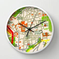 Jerusalem Map Design Wall Clock by Efratul - $30.00