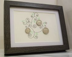 Old Irish coins and custom design artwork in frame 1 Scilling