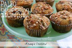 Paleo Blueberry Muffins {Gluten Free, Grain Free, Refined Sugar Free, Dairy Free}