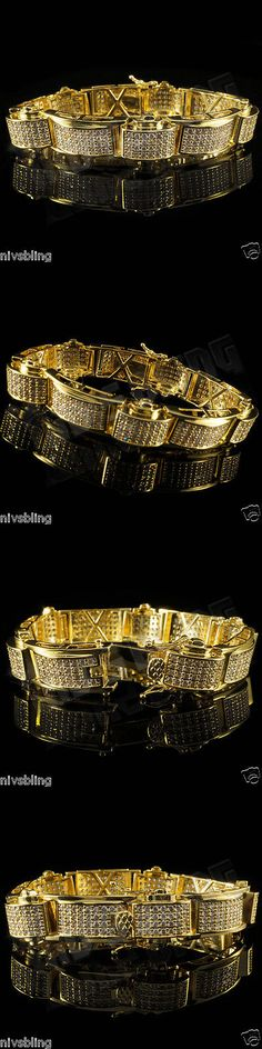 Bracelets 137835: 18K Gold Iced Out Hiphop Bling Micropave Prong Set Aaa Lab Diamond Mens Bracelet -> BUY IT NOW ONLY: $44.99 on eBay!
