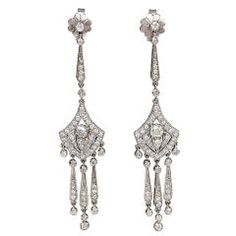 Art Deco Diamond Earrings | From a unique collection of vintage chandelier earrings at https://www.1stdibs.com/jewelry/earrings/chandelier-earrings/