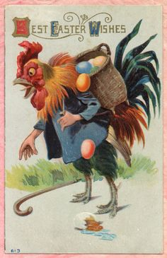 "mudwerks: "" Clumsy Man-Handed Rooster (by Namey McNamerson) "" ""To my dear brother Johnnie Brookman, from your sister Lettie Smith"" "" Easter Greeting Cards, Vintage Greeting Cards, Vintage Postcards, Easter Art, Easter Candy, Decoupage, Easter Wishes, Vintage Easter, Vintage Holiday"